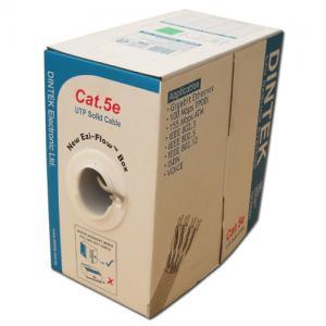 Cáp mạng Dintek CAT.5e FTP, 4 pair, 24AWG bọc nhôm chống nhiễu 4 đôi, bọc thêm lưới đồng ở ngoài, 305m/thùng Rulô gỗ (1105-03001CH) chính hãng