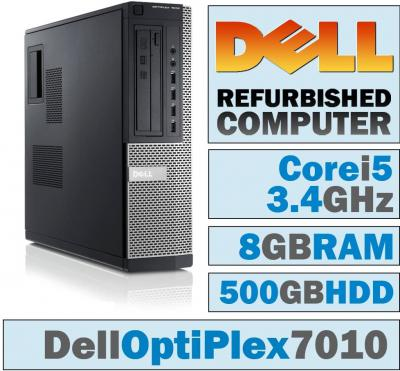 Dell OptiPlex 7010 DT/Core i5-3570 Quad @ 3.4 GHz/8GB DDR3/500GB HDD/DVD-RW/Windows 10 PRO 64 BIT