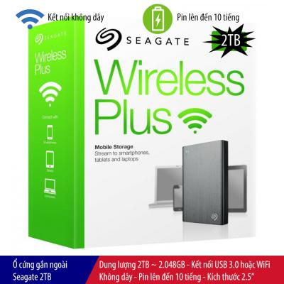 Ổ cứng gắn ngoài Seagate Wireless Plus 2TB, kết nối USB 3.0, kết nối WiFi, pin 10 giờ, kích thước 2.5″